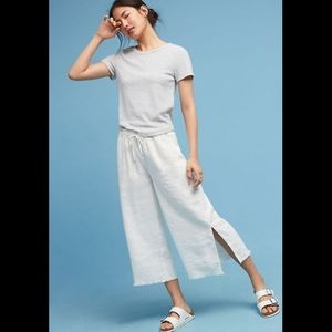 Anthropologie Hei Hei White Linen Cropped Pants XL
